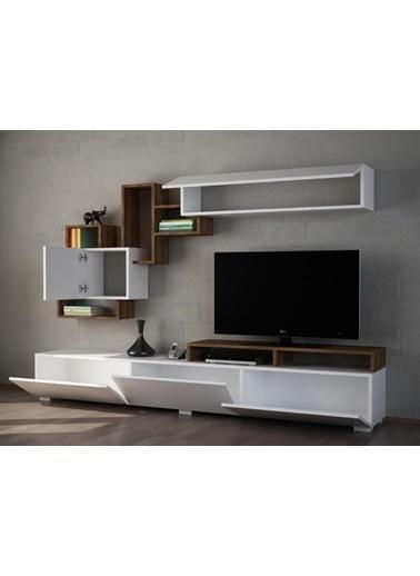 Dekorister Elit Tv Ünitesi Beyaz-Ceviz Renkli